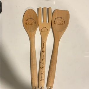 Other - Wooden Serving Utensils Set - Lets Taco About It!
